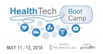 An image of The Health Cell's healthtech boot camp logo.