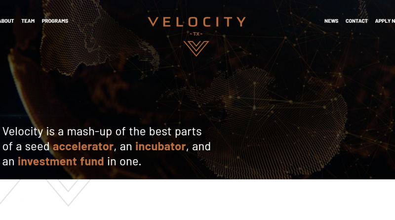 Image of VelocityTX website home page.