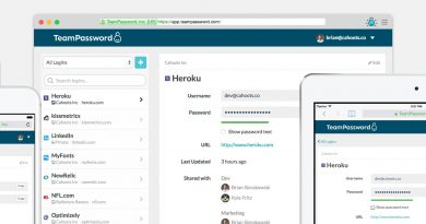 A screenshot of TeamPassword's menu screens, a password manager service.