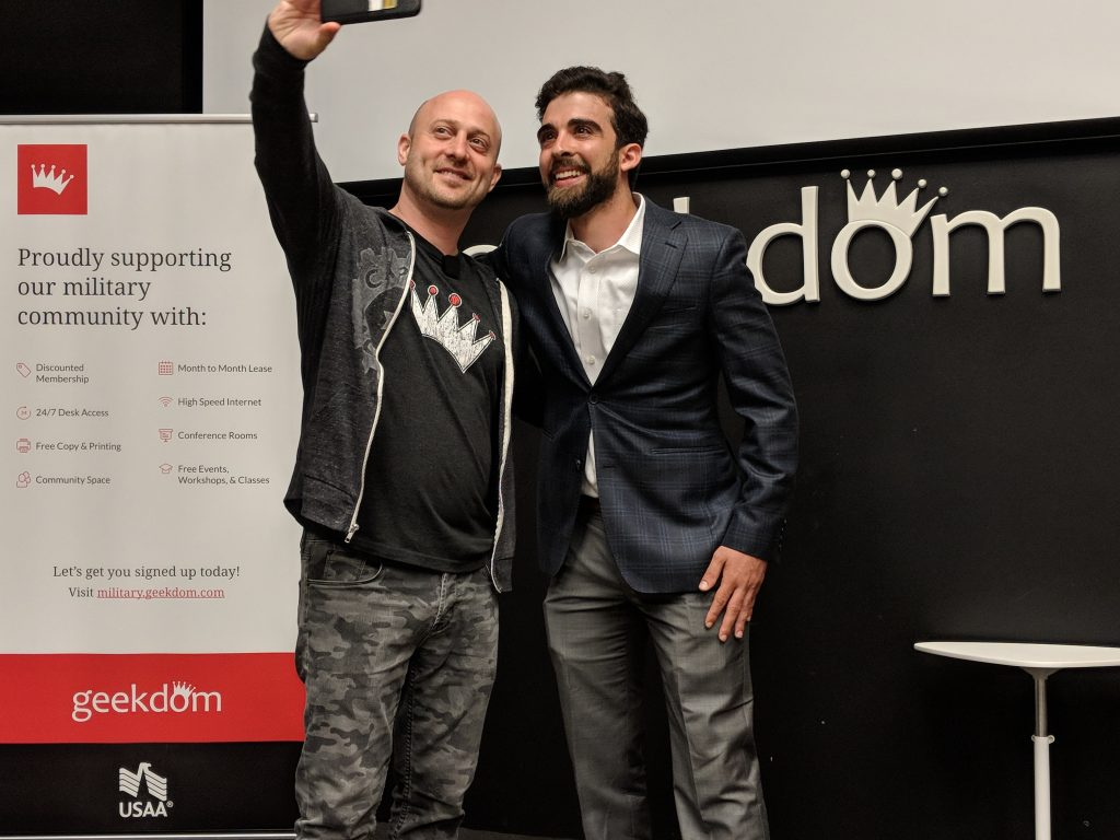 An image of Capitol Factory co-founder Joshua Baer taking a selfie with Capitol Factory Challenge winner and Easy Expunctions founder Yousef Kassim (R). Photo credit: Iris Gonzalez.