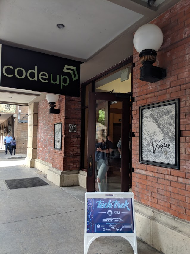 An image of Attendees leave the Vogue Building after visiting Codeup and Easy Expunctions.