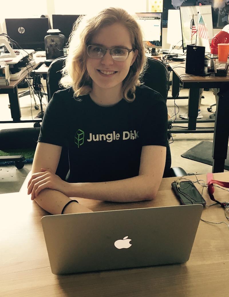 Intern Sarah Scott at Jungle Disk