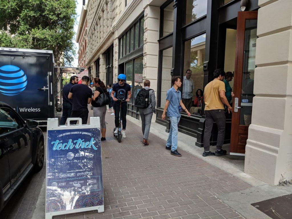 Tech Trek participants on Houston Street. Photo credit: Startups San Antonio.