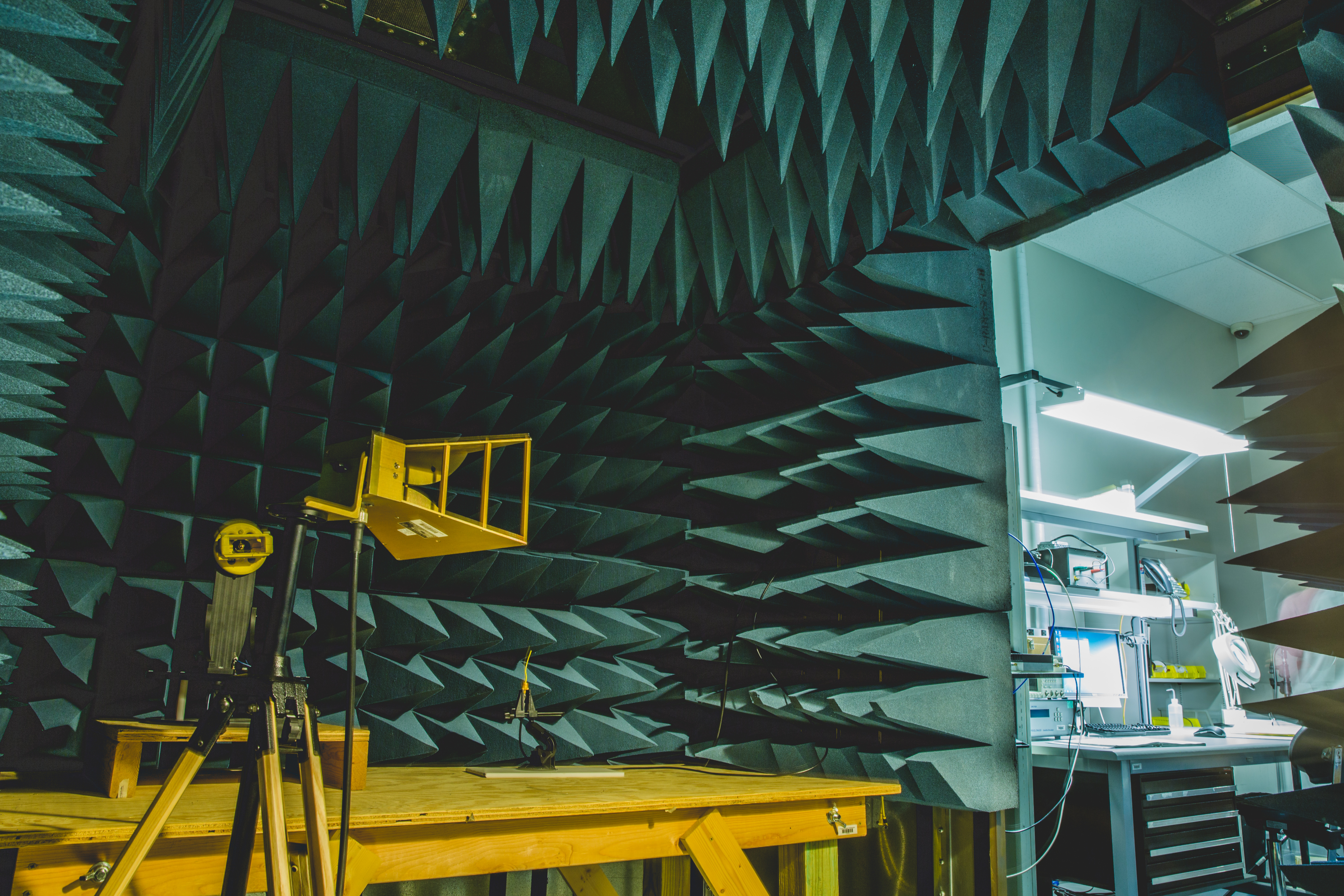 An image of WiseWear's RF anechoic chamber is used to test electronics for unintentional emissions, as well as to test radio frequency communications, such as Bluetooth.