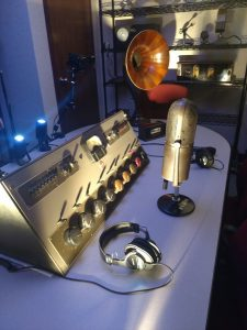 An early radio station's studio equipment set up at the San Antonio Museum of Science and Technology