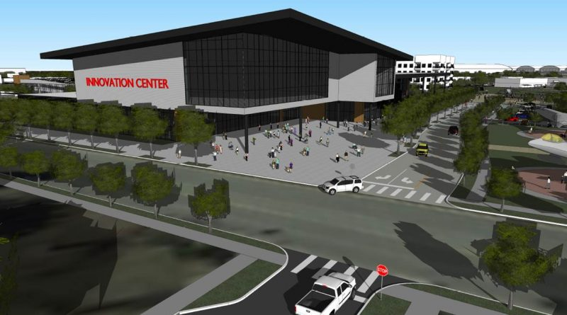 This rendering of an innovation center would house the San Antonio Museum of Science and Technology at Port San Antonio. Image courtesy UTSA Center for Urban and Regional Planning Research.