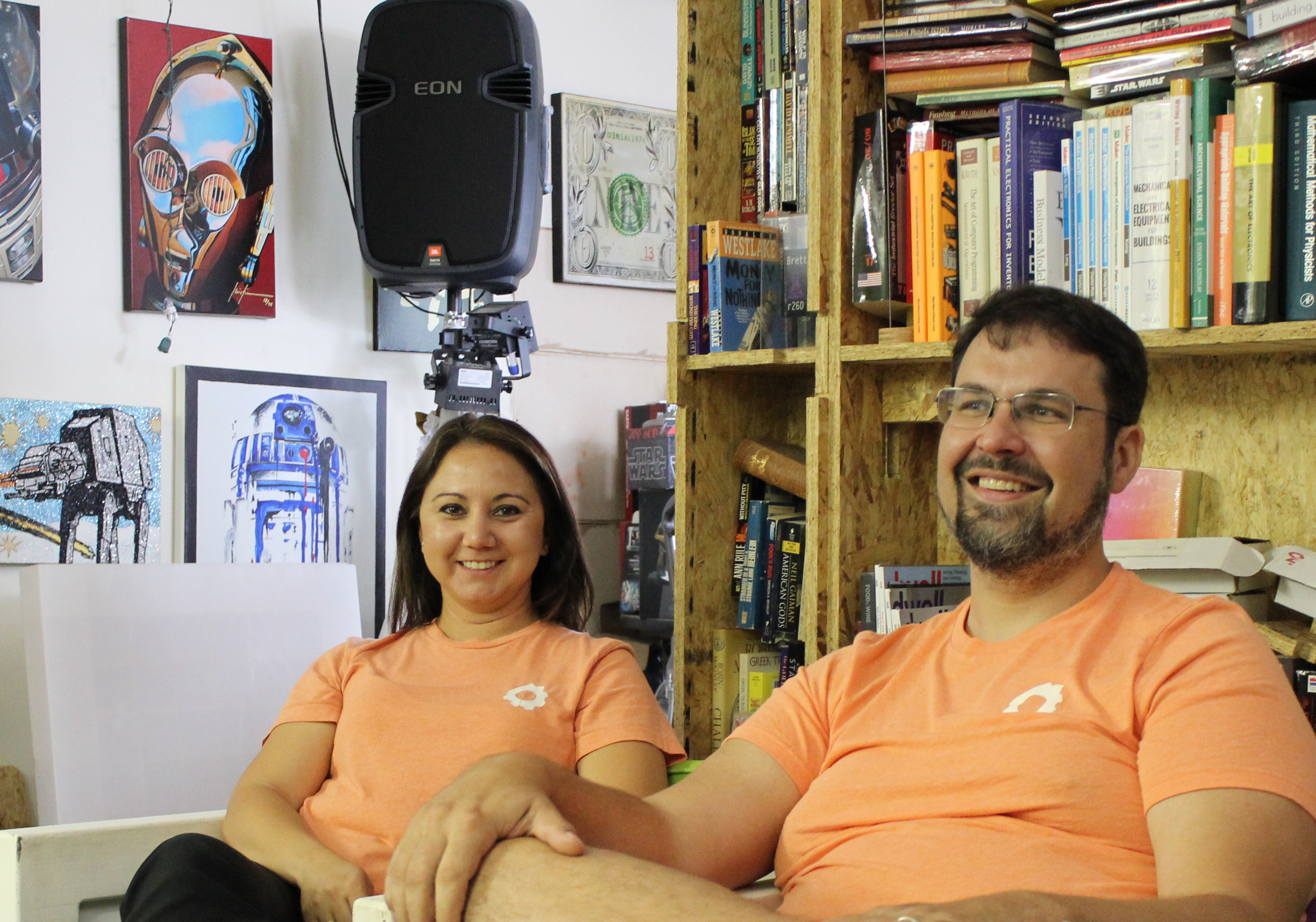 Brokerage Engine co-founders Brianne Alston and Dirk Elmendorf talk about the startup in their office at 601 Delaware Street. Photo credit: Startups San Antonio