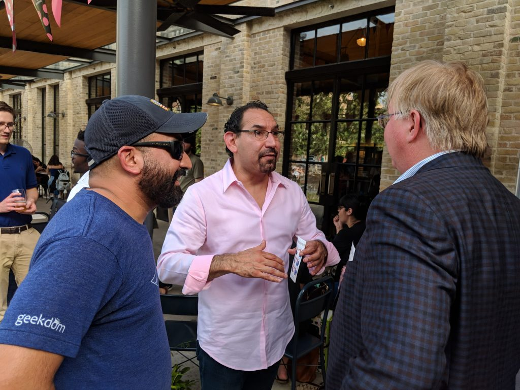 (From the left) Lorenzo Gomez, Luis Martinez, and Graham Weston discuss the expansion of Students+Startups. Photo credit: Startups San Antonio