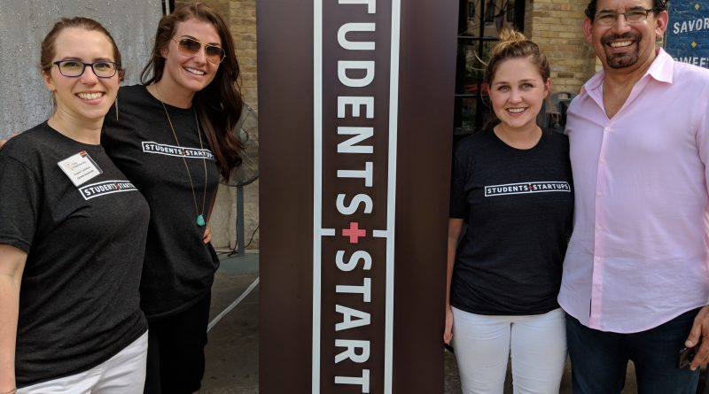 From left, Carmen Aramanda, Alex Fry, Ashley Uptmore, and Luis Martinez form the team overseeing Students+Startups at Trinity University. Photo credit: Startups San Antonio.