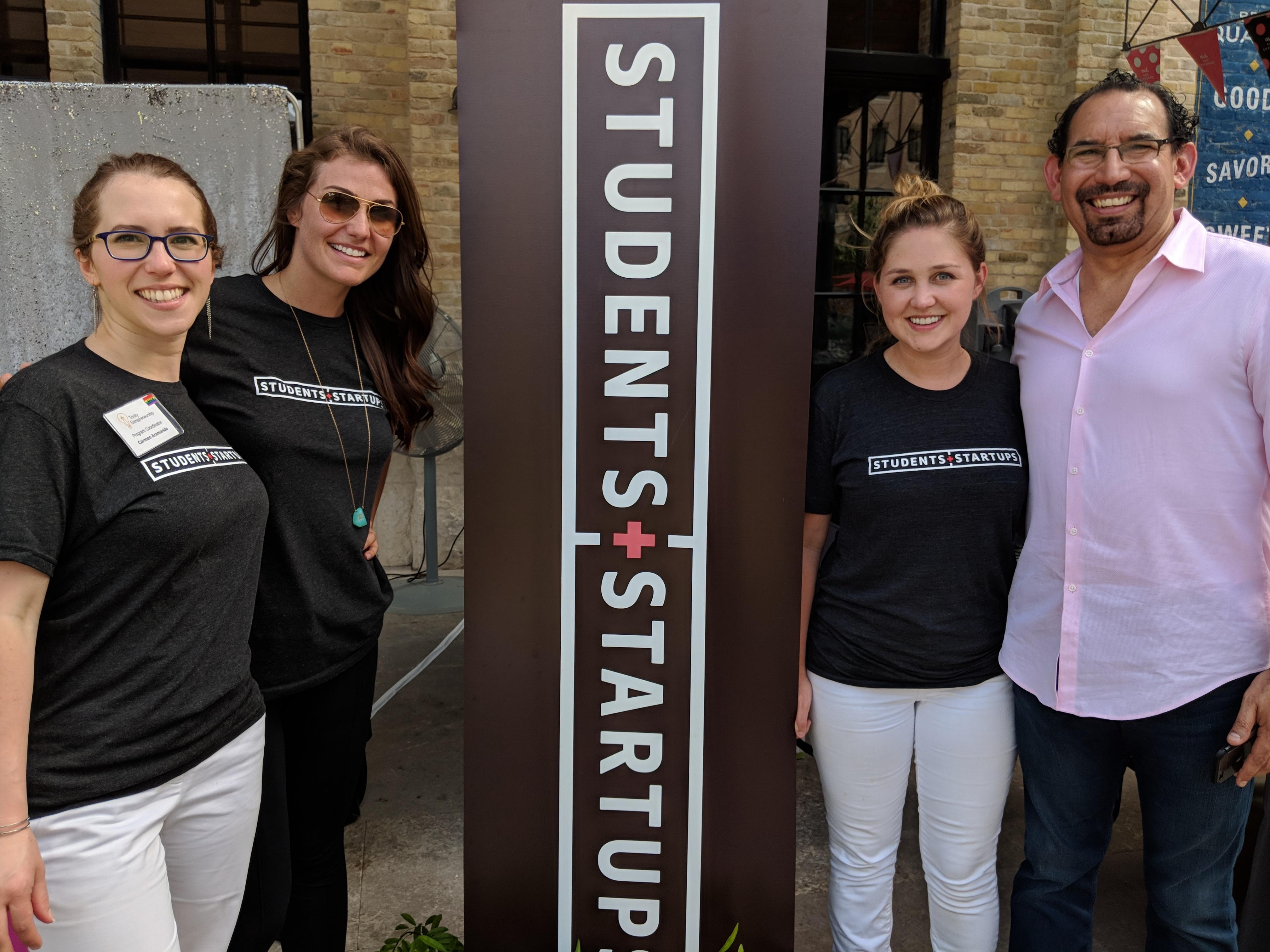 From left, Carmen Aramanda, Alex Fry, Ashley Uptmore, and Luis Martinez form the team overseeing Students+Startups at Trinity University. Photo credit: Startups San Antonio.