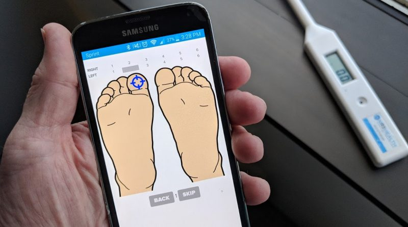 MR3 Health developed a remote health monitoring service that includes an app that guides patients to use an internet-connected sensor to take foot temperature readings. Photo credit: Startups San Antonio