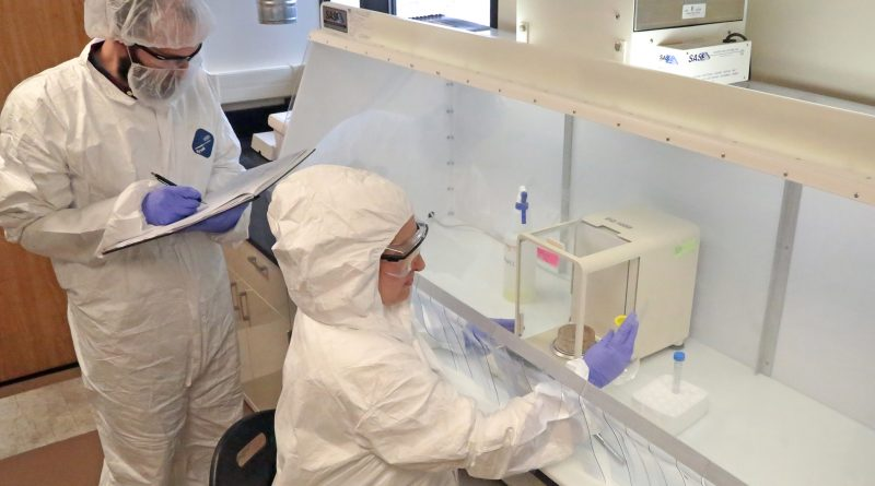 SwRI staff process materials in a dedicated High Potency Facility