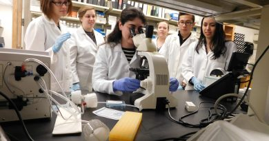 (From left) Scientists Eusondia Arnett, Jeanine Locke, Ariana Duffey, Chrissy Leopold Wager, Leonardo Aguilar, and Maria Montoya collaborate in a lab at Texas Biomed. Courtesy photo.