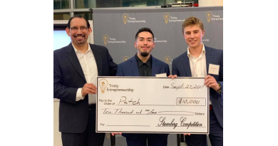 PATCH won $10,000 in Trinity University's Stumberg Competition September 2018. From left: Trinity's Center for Innovation and Entrepreneurship director Luis Martinez gives the check to PATCH co-founders Gavin Buchanan and Andrew Aertker. Photo credit: Startups San Antonio.