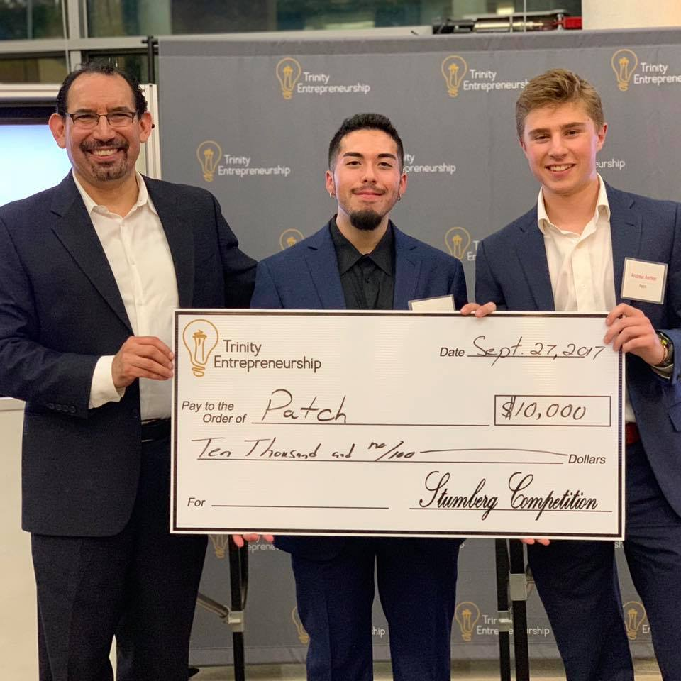 PATCH received a donated $10,000 runner-up award in the final round of the 2018 Stumberg Venture Competition. From left: Director Luis Martinez with PATCH co-founders Gavin Buchanan, and Andrew Aertker.