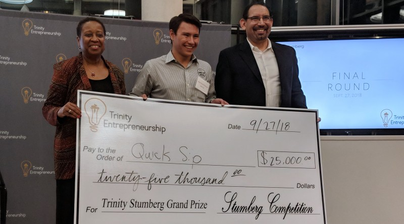 Quick Sip Coffee Wins the $25,000 Stumberg Venture Competition. From left: Trinity Vice President of Academic Affairs, Dr. Deneese Jones, Quick Sip founder Jacob Hurrell-Zitelman, and director Luis Martinez. Photo credit: Startups San Antonio