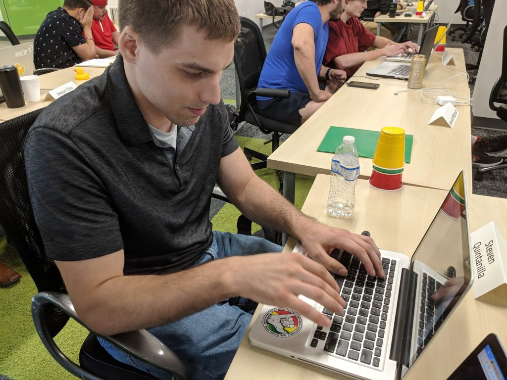 Steven Quintanilla is a student in one of Codeup's web developer's program. Photo credit: Startups San Antonio.