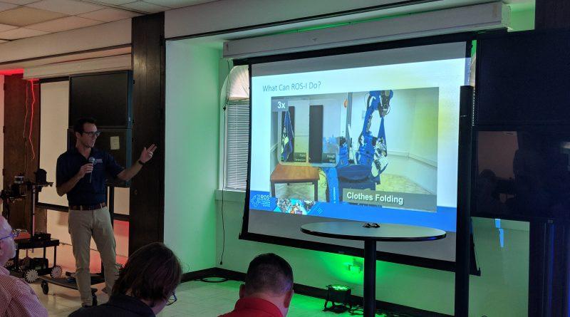 SwRI's Matt Robinson talks about robotics with the SATX Robotix group at SAMSAT. Photo credit: Startups San Antonio