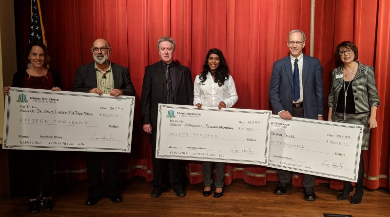 Featured image is of the finalists in the Mind Science Foundation's BrainStorm pitch competition. From left: Julia Brill, David Linden, Michael Anderson, Subbulakshmi Sankarasubramanian,Ken Paller, and MSF director Meriam Good. Photo credit: Startups San Antonio.