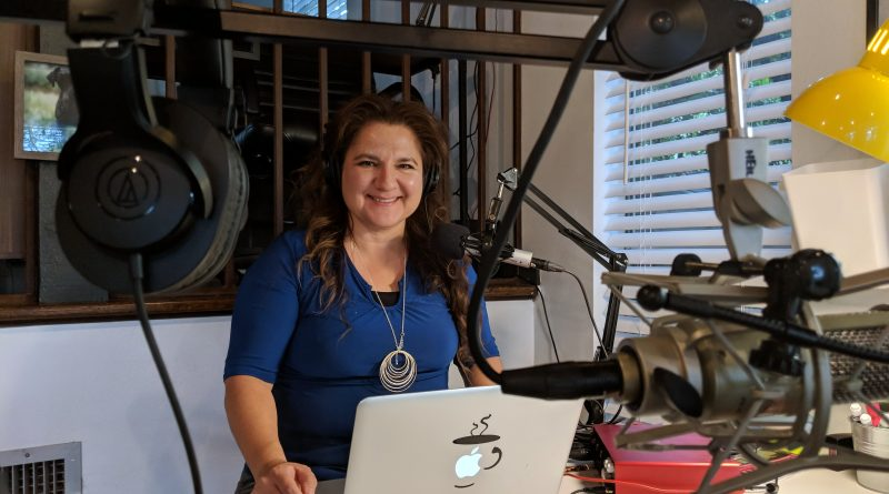 NaPodPoMo founder Jennifer Navarrete is ready to record a podcast. Photo credit: Startups San Antonio.