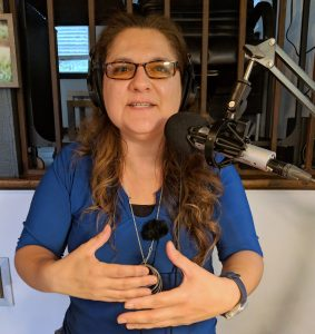 Jennifer Navarrete records a podcast. Photo credit: Startups San Antonio.