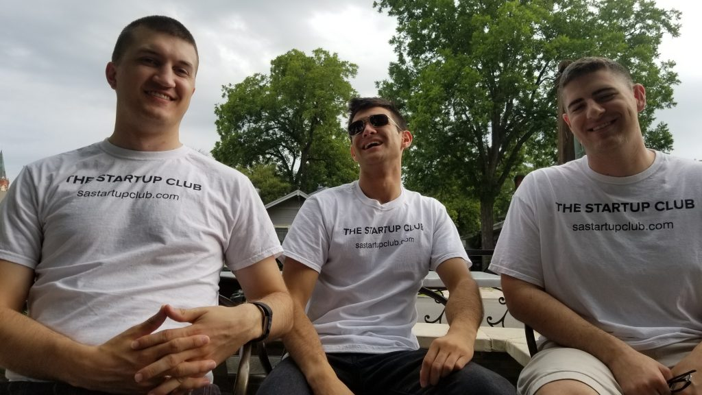 The Startup Club team hosts podcasts. From left: Derek Bull, Ricky Garcia, and Sam Riehn. Courtesy photo.