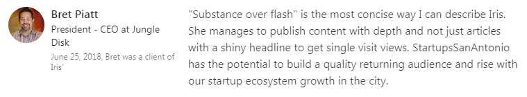 Startups San Antonio endorsement from Jungle Disk CEO Bret Piatt.
