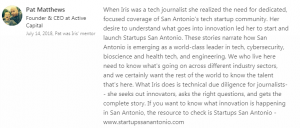 Startups San Antonio endorsement from Active Capital founder Pat Matthews
