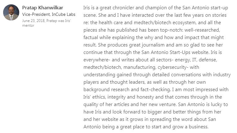 Startups San Antonio endorsement from InCube Labs vice president Pratap Khanwilker.