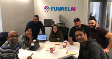 The FunnelAI team from left: Sridhar Kamma, Founder and CEO, Suja Kamma, Co-founder and strategy lead, sales director Ron Davis, full stack developers Vivian Canales and Larry Gonzales, machine learning engineer Brandom Lwowski and engineer Suman Poluri. Courtesy photo.