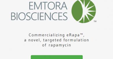 Rapamycin Holdings, Inc. (RHI), a privately-held, emerging life science company based in San Antonio, Texas, has rebranded as Emtora Biosciences. Website screenshot.