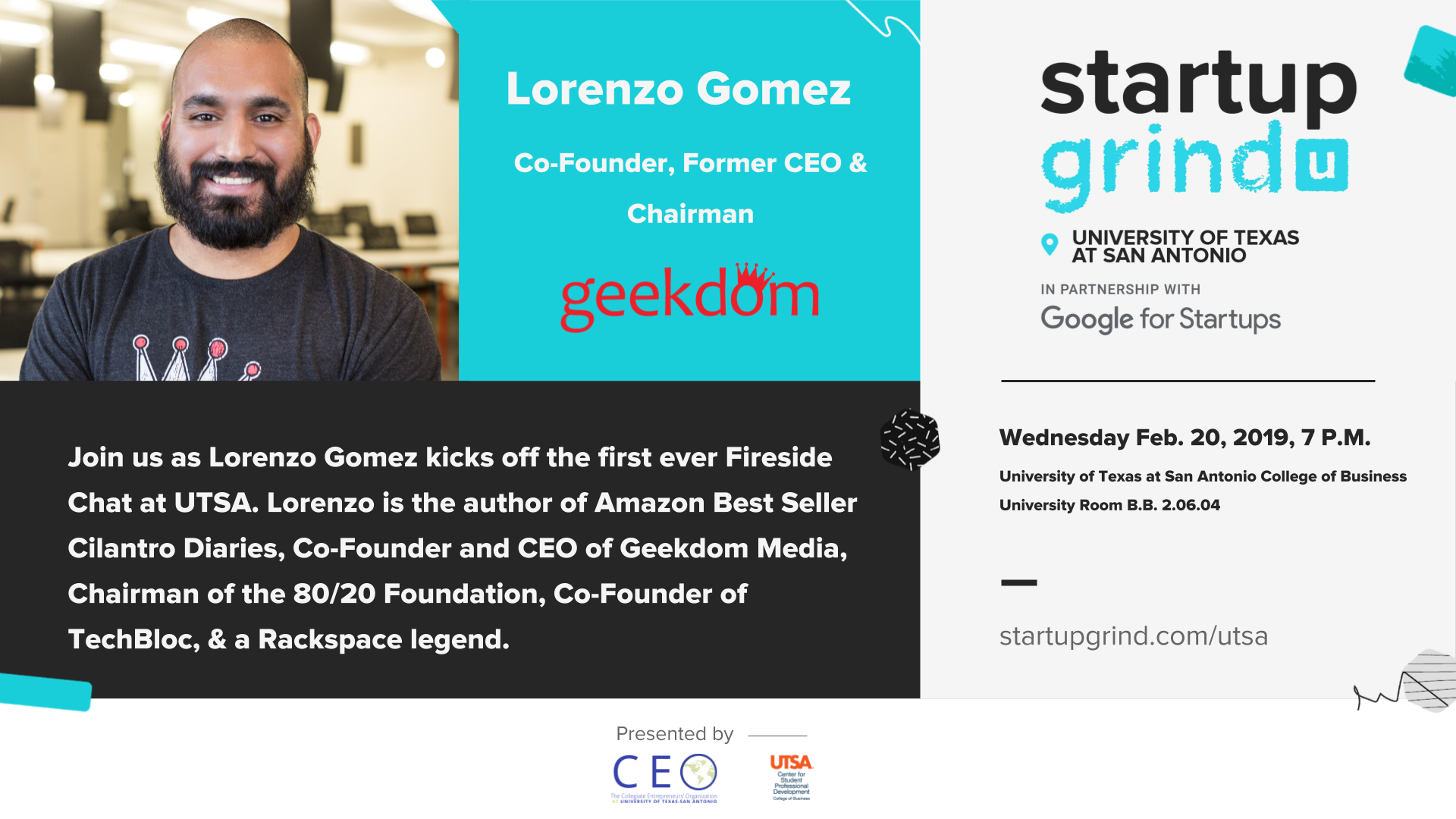 UTSA Startup Grind Chapter Launches with Lorenzo Gomez as Guest Speaker