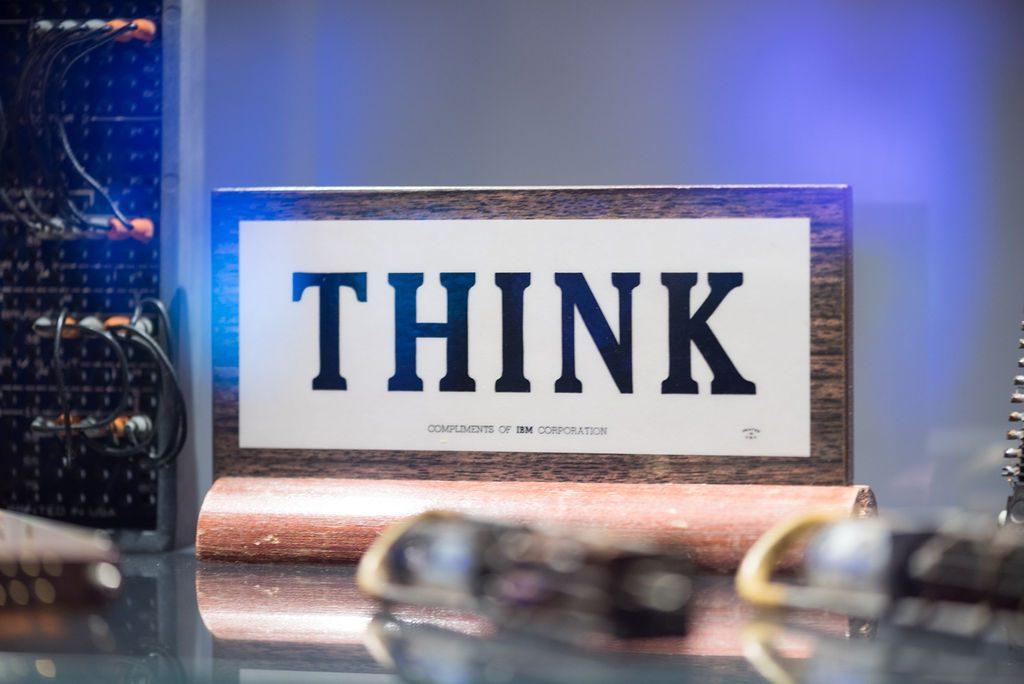 THINK sign in SAMSAT computing exhibit Courtesy Startups San Antonio