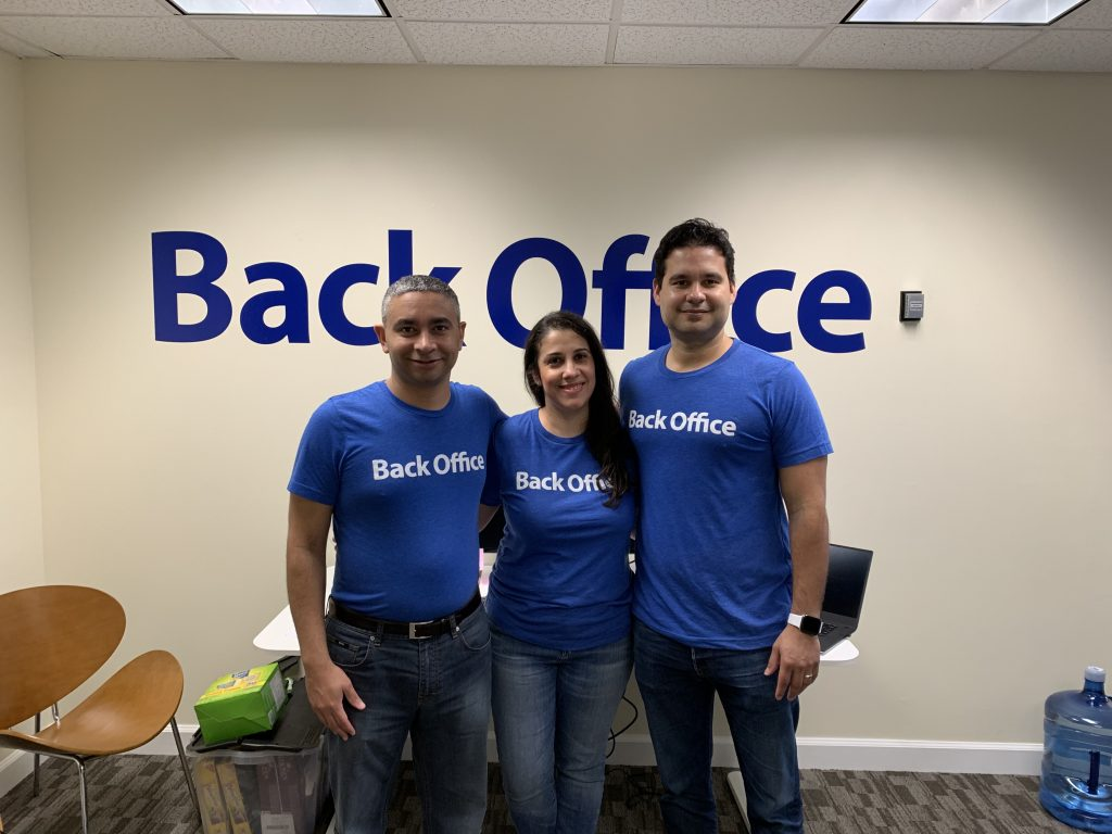 Back Office co-founders are from left: Felix Rodriguez, Glennys Rodriguez, and Edwin Mejia. Courtesy photo.
