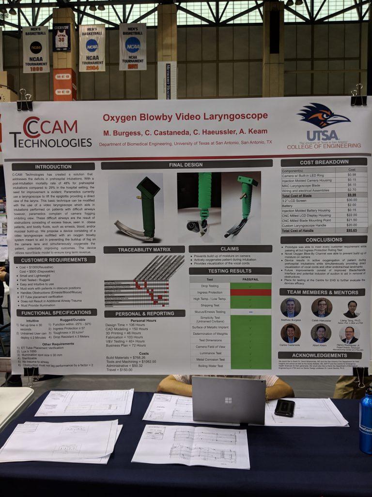 The C-CAM team poster at the 2019 UTSA CITE competition. Photo credit: Startups San Antonio.