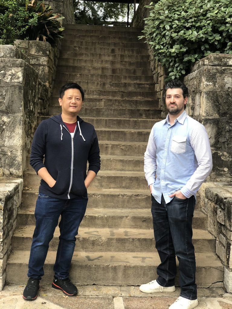 Cliently works out of the Active Capital office on Soledad Street. From left: Chief technology officer Huey Ly and CEO and founder Spencer Farber. Courtesy photo.