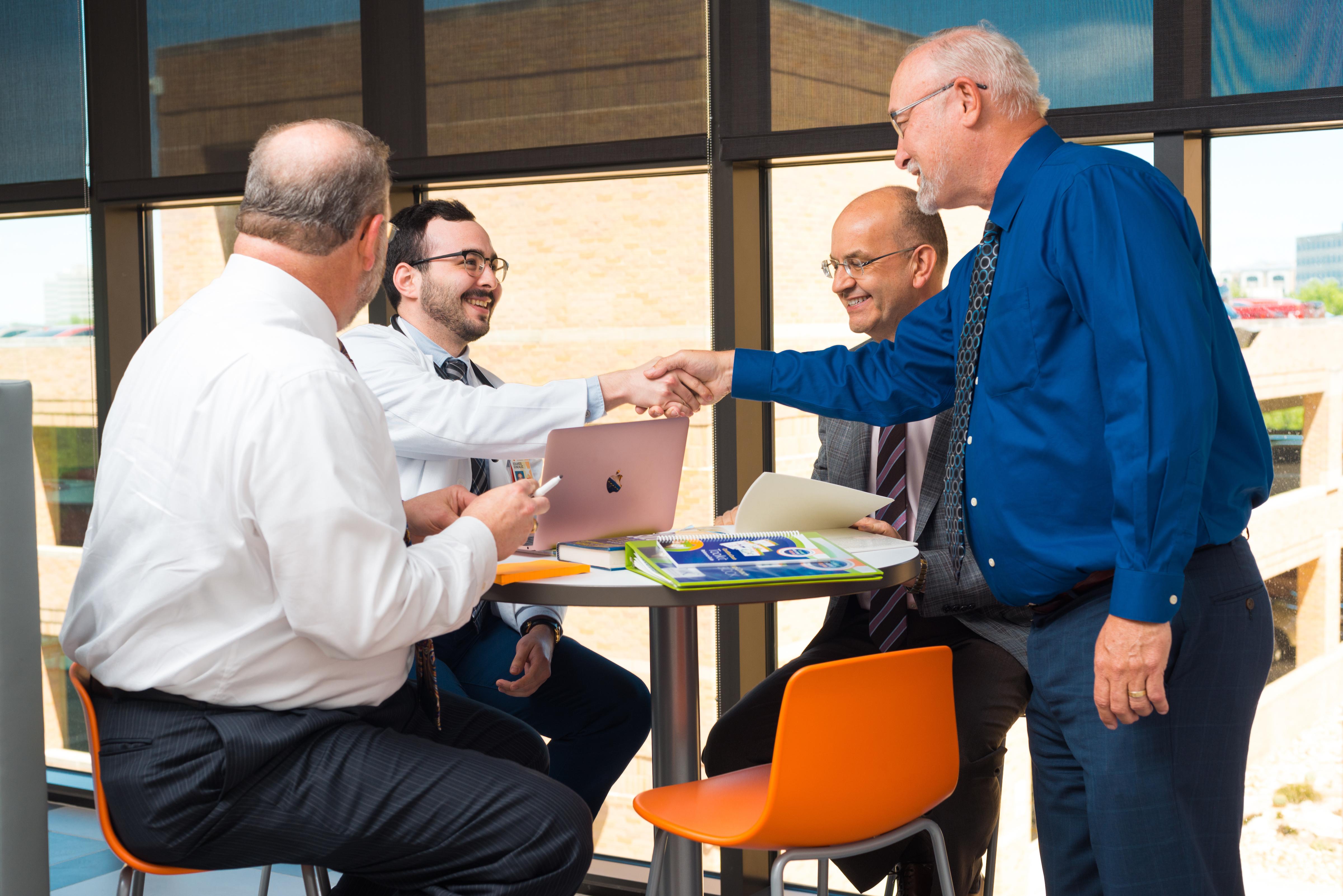 UT Health San Antonio launched Tech Novum, a new accelerator for its faculty. From left: Sean Thompson, Eduardo Gonzalez, Andrea Guiffrida, and John Fritz. Photo courtesy UT Health San Antonio.