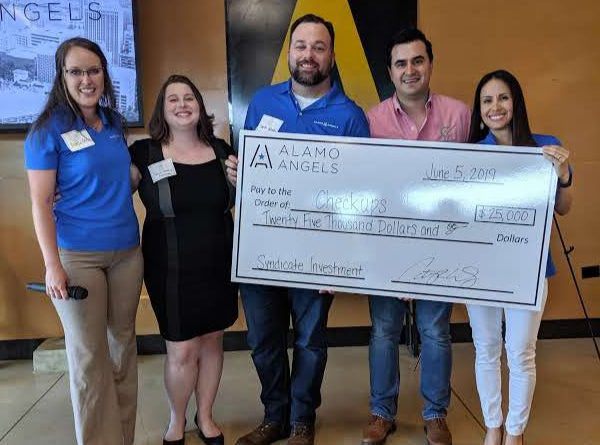 Checkups receives $25,000 investment from Alamo Angels. From left: Rebecca Derby, Joyce Deuley, Charles Woodin, Enrique Pavlioglou, and Cat Dizon. Photo credit: Startups San Antonio.