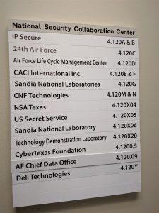 Directory of NSCC partner offices at UTSA. Credit: Startups San Antonio.