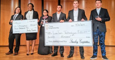 Trinity University Stumberg Venture Competition teams. From left: Runner up StorySpread founder Chikanma Ibeh, La Escuela de Estella founder Estella Frausto, winning LuxTurn Technologies founders Robert Magee and Christ Stewart,  and Skate Cuff creator Andrew Koob. Photo credit: Startups San Antonio.