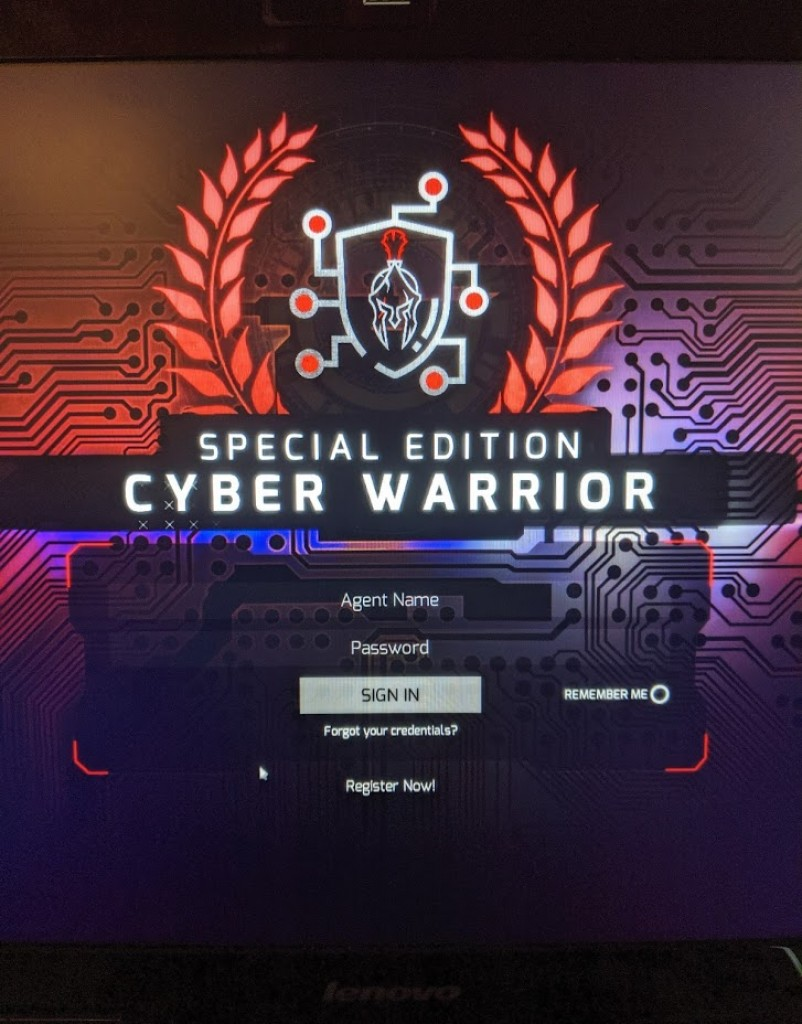 Login screen for Cyber Warrior Network's cyber game called Cyber Wraith. Photo credit: Startups San Antonio.