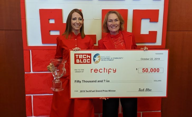 Rectify wins first-place prize of $50,000 at the 2019 Tech Fuel pitch competition. Photo credit: Startups San Antonio.