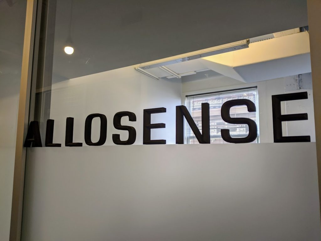 Allosense sign on the 7th floor of Geekdom. Photo credit: Startups San Antonio.