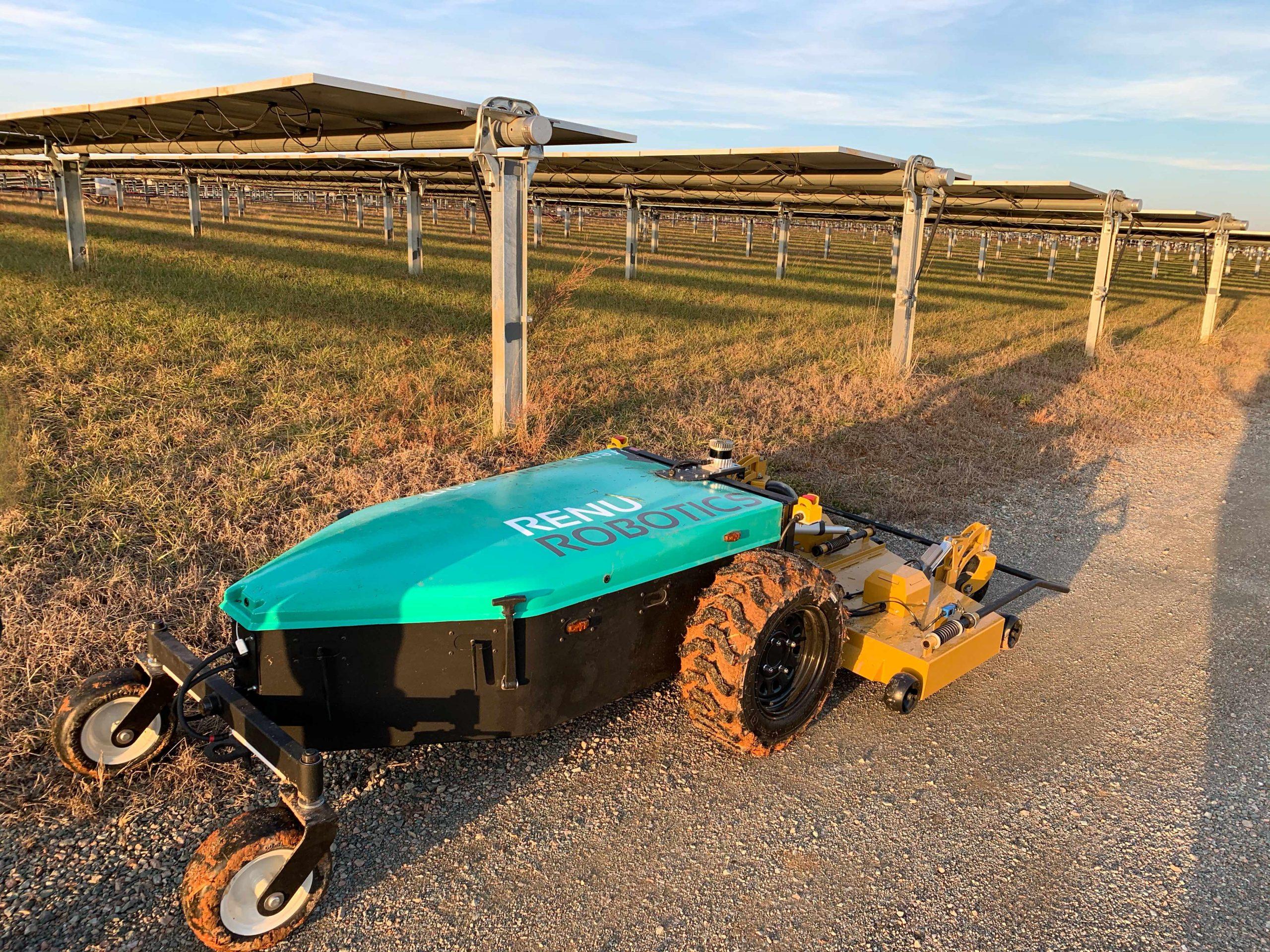 Renu Robotics mower at a solar farm. Photo courtesy Renu Robotics.