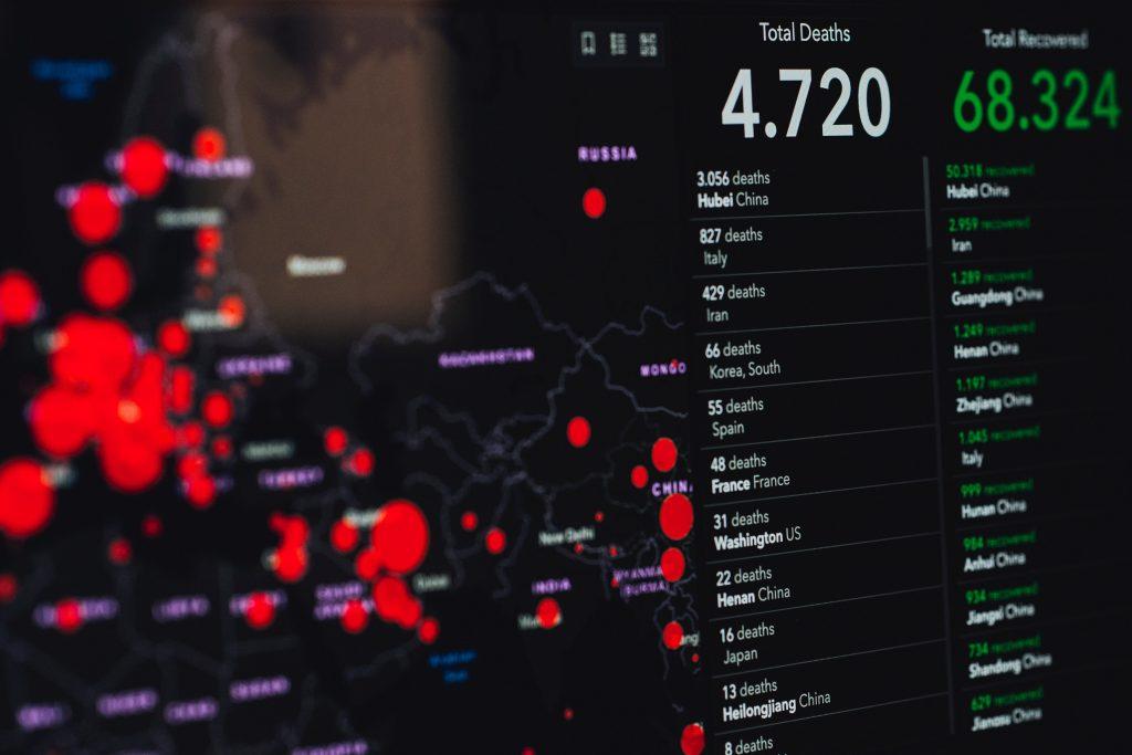 Image of the Johns Hopkins COVID-19 pandemic online tracker. Photo by Markus Spiske on Unsplash.