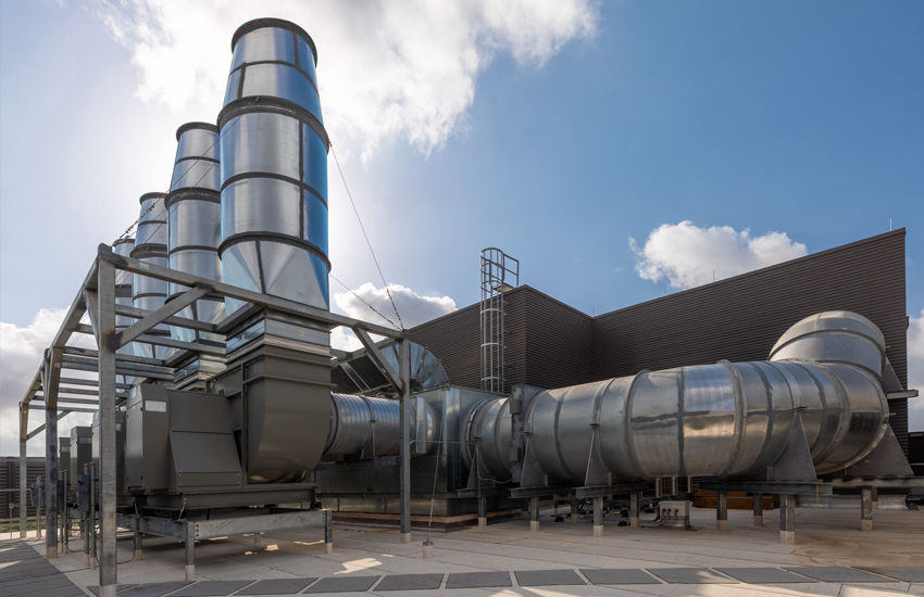 Exhaust stacks on the outside of UTSA's new Science and Engineering building. Photo credit: UTSA.