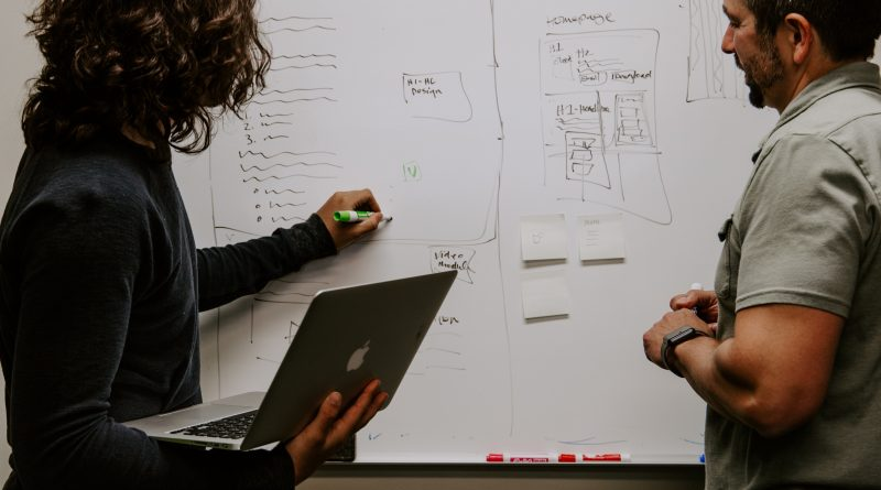 Two entrepreneurs at a whiteboard,discussing entrepreneurial success. Photo credit: Kaleidico on Unsplash.