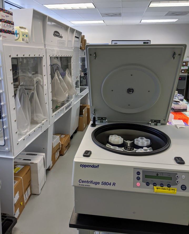 Crown Scientific has vent hoods and centrifuges in its rentable wet lab space. Photo credit Startups San Antonio.