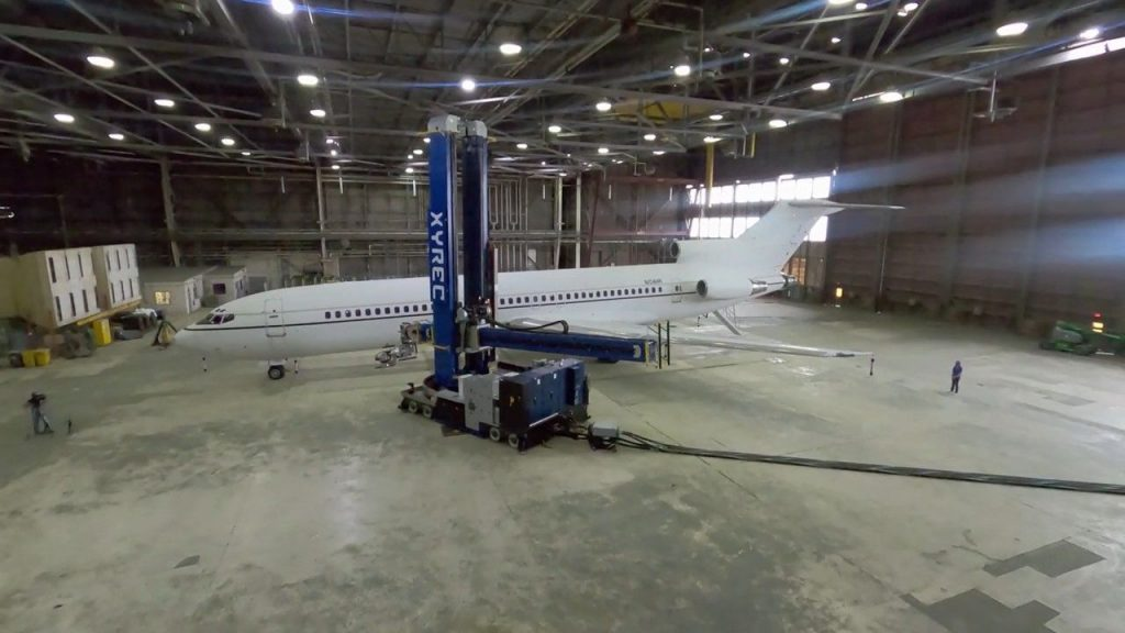 XYREC robot can move as needed to remove paint from a plane. Courtesy photo.