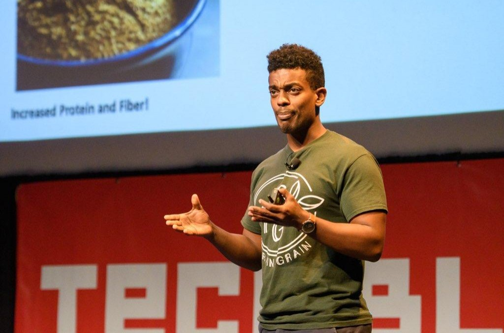 Yoni Medhin, co-founder of Grain 4 Grain, pitches at Tech Fuel, photo courtesy of Tech Bloc